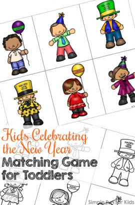 Kids Celebrating the New Year Matching Game for Toddlers Printable