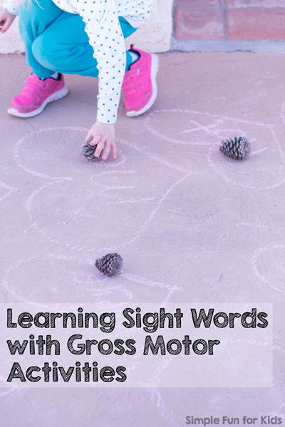 Are you teaching your child sight words and looking for fun ideas to make it easier? Try these three ways of learning sight words with gross motor activities! Perfect for preschoolers and kindergartners, and great for other learning objectives, too.