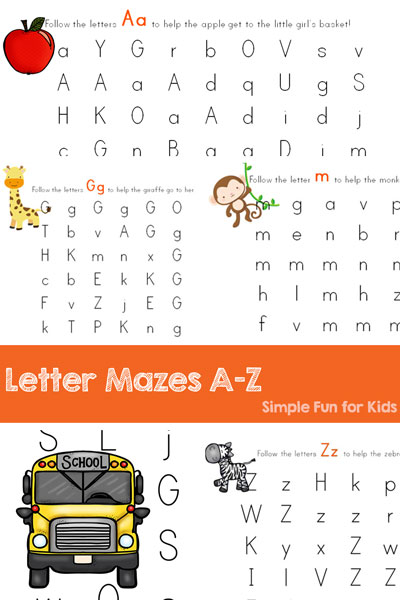 Learn and review letters with these Letter Mazes A-Z! Perfect for toddlers, preschoolers, and kindergarteners who are learning to recognize letters and tell them apart.