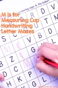 Practice handwriting letter M with these M is for Measuring Cup Handwriting Letter Mazes! Just print and go, perfect for preschoolers and kindergarteners!