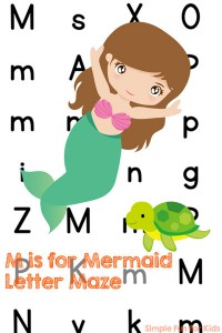 Do you know someone who's learning their letters? This printable M is for Mermaid Letter Maze is a fun way of learning and reviewing letter M for toddlers, preschoolers, and kindergarteners.