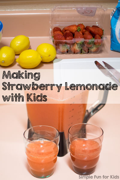 Make strawberry lemonade with kids: Use whole foods, have fun in the kitchen, and enjoy a yummy refreshment!