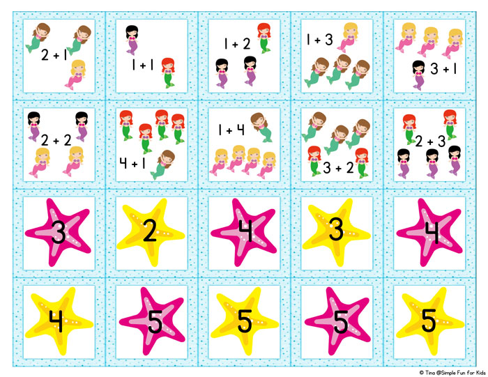 Mermaid Addition Memory Game - Simple Fun for Kids