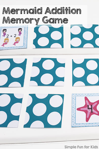 Practice addition facts up to 5 with this cute printable Mermaid Addition Memory Game! Perfect for preschoolers and kindergarteners working on new math concepts.