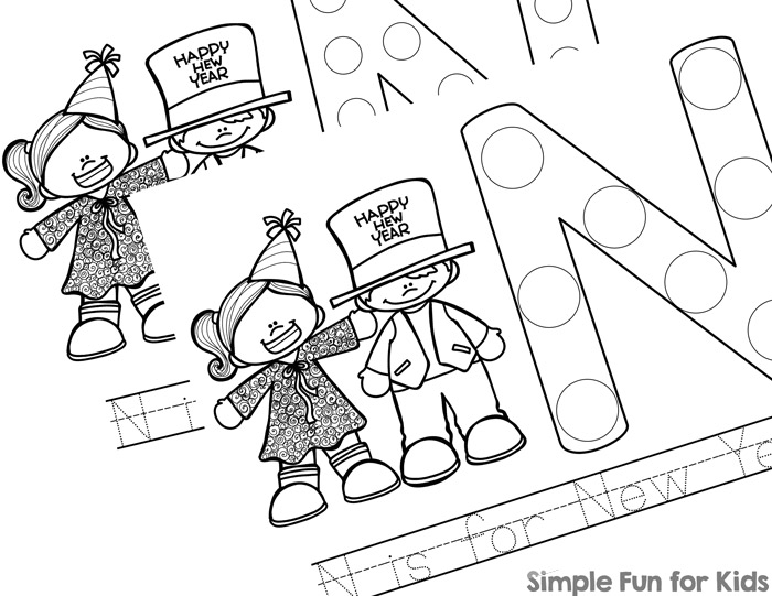 This is a fun way to learn more about the letter N: These printable N is for New Year Dot Marker Coloring Pages are perfect for toddlers, preschoolers, and kindergarteners or anyone learning their letters.