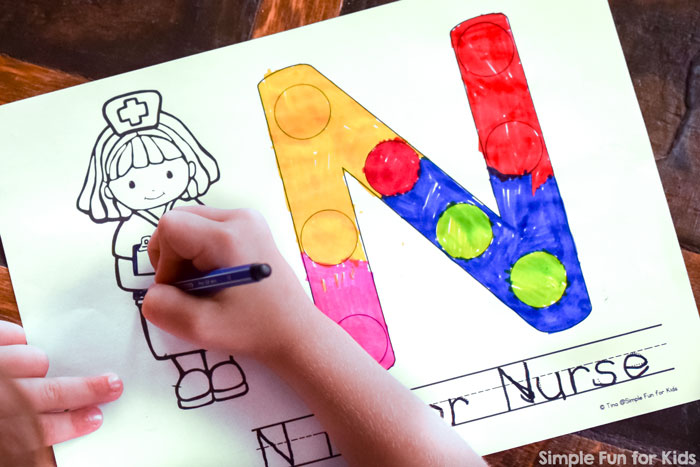 Help your toddler or preschooler learn his or her letters with these printable N is for Nurse Dot Marker Coloring Pages! Simply print out and start working on it, no preparation required.