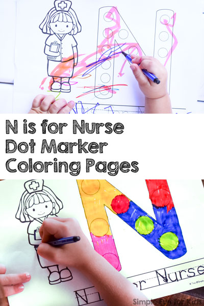 N is for Nurse Dot Marker Coloring Pages