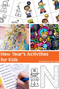 Check out these New Year's Activities for Kids on Simple Fun for Kids! Printables, sensory activities, a survey, and more, perfect for toddlers, preschoolers, kindergarteners, and older kids, too.
