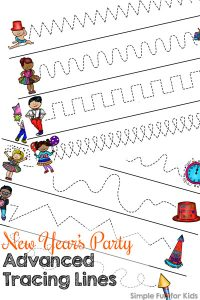 Practice advanced prewriting skills with these fun printable New Year's Party Advanced Tracing Lines! No prep needed, great for preschoolers and kindergarteners.