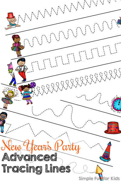 New Year\'s Party Advanced Tracing Lines - Simple Fun for Kids