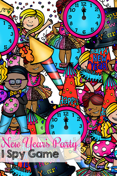 Find and count all of the fun items you may find at a New Year's party! This printable New Year's Party I Spy Game is a fun and simple way for preschoolers and kindergarteners to practice counting to 10, number recognition, 1:1 correspondence, visual discrimination, and more!