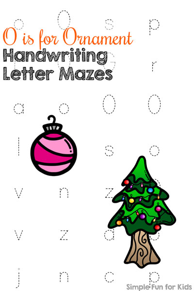 O is for Ornament Handwriting Letter Mazes