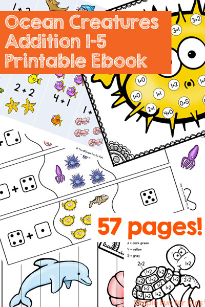 Once your kids have counting down pat, it's time to delve into addition. This Ocean Creatures Addition Printable Ebook includes ten different addition activities perfect for math centers for kindergarten or to play with at home.