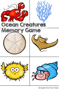 Do you enjoy printable games? Play an ocean creatures memory game with your toddler or preschooler! Start with just a few pairs and work up to using all 20 pairs!