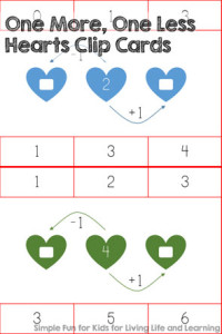 Free Printables for Kids: Improve your kindergartner's number sense with these One More, One Less Hearts Clip Cards! Perfect for Valentine's Day or just any day.