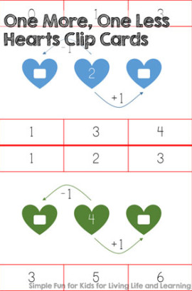 One More, One Less Hearts Clip Cards