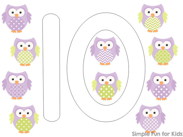 Printables for Kids: Practice counting up to 10 while playing with these cute Owl Counting 1-10 Play Dough Mats! Just print, laminate, and use. Perfect for toddlers and preschoolers.