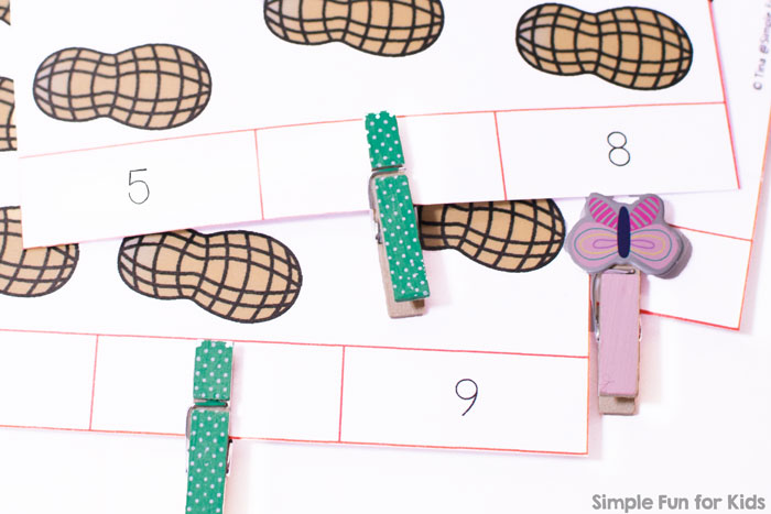 Learn how to count to 12 with printable Peanut Counting Clip Cards! Perfect for toddlers, preschoolers, and kindergartners who are learning basic math.