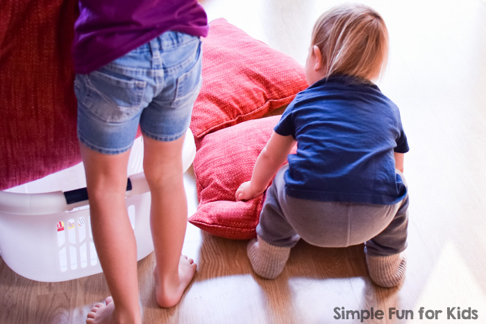 Simple indoor gross motor activity that burns a ton of energy without making a mess: Pillow throw, great for toddlers, preschoolers, kindergarteners, and anyone you want to tire out ;)