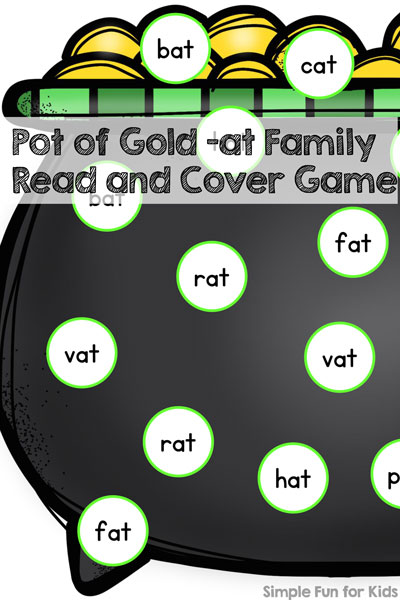 Learning to read with a St. Patrick's Day theme! Help your kindergartner or preschooler practice CVC words with this printable Pot of Gold -at Family Read and Cover Game!