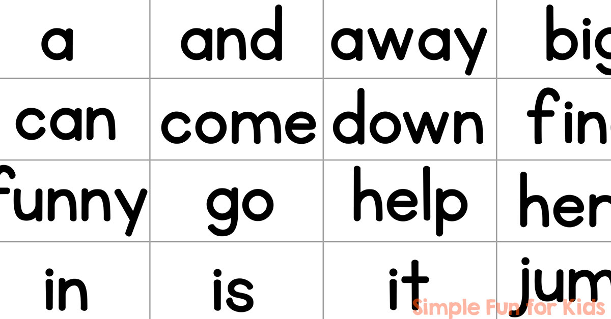 pre primer sight word mini flash cards simple fun for kids