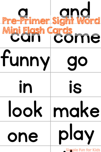 Simple pre-primer sight word mini flash cards, nothing fancy - because sometimes, you just want to print out the basic words and be done.