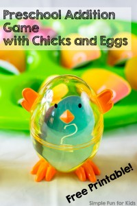 Easter Math for Kids: Preschool Addition Game with Chicks and Eggs {and a free printable!} Quick and simple introduction to addition.