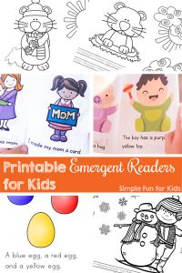 Check out these cute printable Emergent Readers for Kids from Simple Fun for Kids! Short booklets and emergent reader coloring pages are perfect for preschoolers and kindergarteners who are just learning to read.
