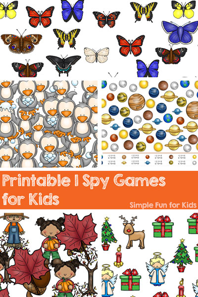Check out all these fun printable I Spy games for kids! There are games for Valentine's Day, Easter, Christmas, and lots of other seasonal and non-seasonal themes! Great way for toddlers and preschoolers to learn to count.