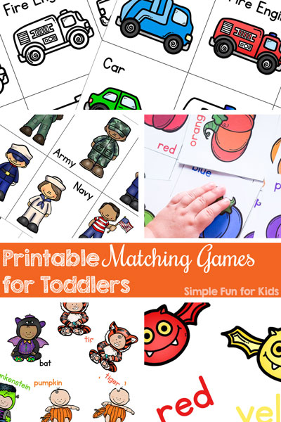 My toddler loves printable matching games that are extra simple, perfect for his attention span! Practice matching, vocabulary, one-to-one correspondence, and more with these fun games!