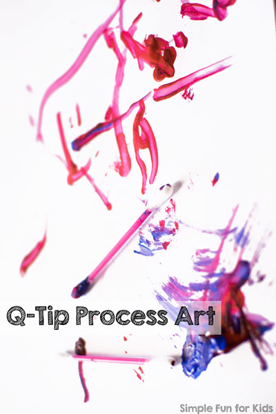 Super simple art ideas for toddlers: We did some quick and simple Q-Tip Process Art with my toddler! He adored the activity :)