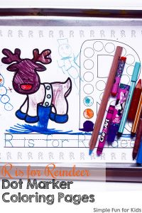 Learn a new letter or review letter R with these cute no-prep printable R is for Reindeer Dot Marker Coloring Pages. (Day 12 of 24 Days of Christmas Printables for Toddlers.)