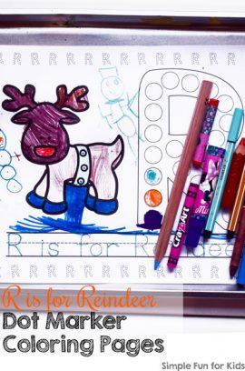 Day 12: R is for Reindeer Dot Marker Coloring Pages