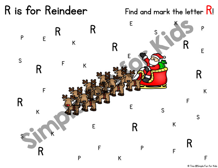 Are you working on basic literacy and letter R with toddlers or preschoolers? This R is for Reindeer Letter Find is differentiated for four different skill levels! (Day 16 of the 24 Days of Christmas Printables for Toddlers.)
