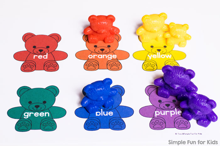 A simple printable mat in rainbow bear colors - perfect for toddlers and preschoolers learning their colors, with or without using actual rainbow bears. Great for color sorting, learning color words, rainbow order, etc.