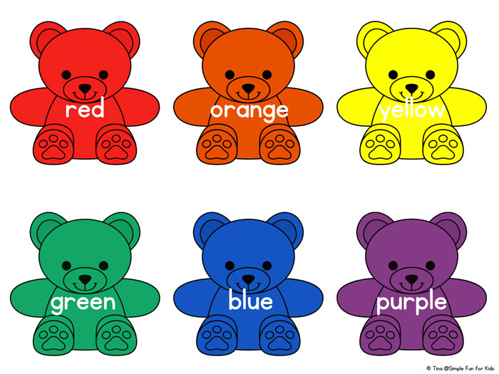 Rainbow Bear Colors Printable on Fun Math Color By Number Worksheets