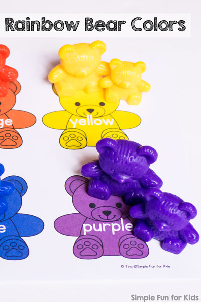 Rainbow Bear Colors Printable