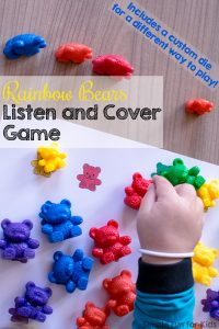 Practice following instructions and work on color word vocabulary with this printable Rainbow Bears Listen and Cover Game! Perfect for toddlers who are learning their colors. (Also includes a die template to make it a roll and cover game.)
