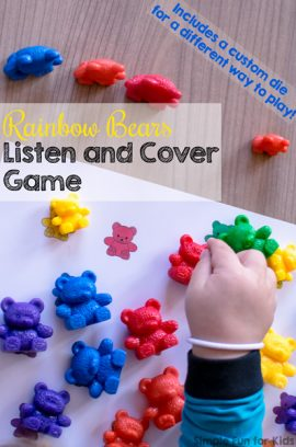 Rainbow Bears Listen and Cover Game for Toddlers