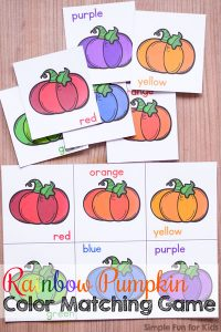 toddlers can learn and review colors with this printable rainbow pumpkin color matching game simple - Color Games For Toddlers