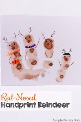 Red-Nosed Handprint Reindeer