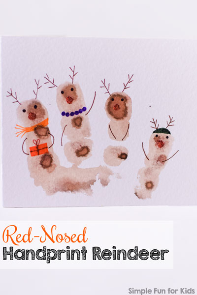 Check out this cute Christmas card with red-nosed handprint reindeer! So cute and simple, and a great keepsake to make with kids of all ages, toddler on up!