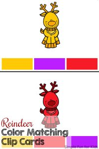 Learn and practice color recognition with these cute printable Reindeer Color Matching Clip Cards! (Day 5 of 24 Days of Christmas Printables for Toddlers.)