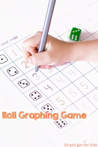 Get an introduction to graphing and math concepts like counting, comparison, and even probability with this fun and simple printable Roll Graphing Game! It's also a great way to practice writing numbers from 1-6 for preschoolers and kindergarteners.
