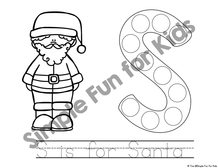 Day 6 s is for santa dot marker coloring pages simple fun for kids introduce your toddler to the letter s with these cute printable s is for santa dot spiritdancerdesigns Images