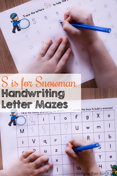 S is for Snowman Handwriting Letter Mazes Printable
