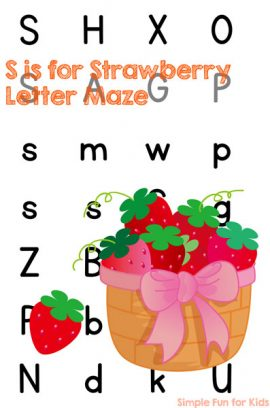 S is for Strawberry Letter Maze Printable