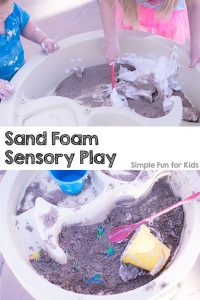 Combining shaving cream and sand should have been a no brainer - they're our very favorite sensory materials, after all! It took a while for us to get around to it, but once we did, my preschooler and my toddler absolutely adored Sand Foam Sensory Play! It was so quick and simple to set up and entertained the siblings for a long time.