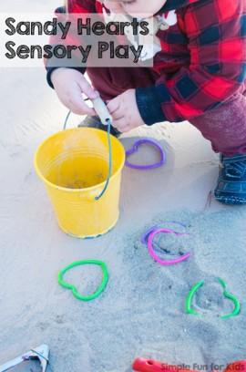 Sandy Hearts Sensory Play