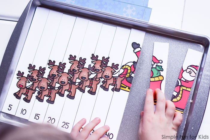 Help your kindergartener practice skip counting with a cute Christmas theme: printable Santa and his Reindeer Skip Counting by 5s Puzzle.